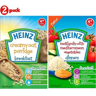 Heinz Cereals Combo (Pack of 2) Creamy Oat Porridge + Multigrain With Mediterranean Vegetables