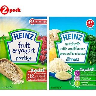 Heinz Cereals Combo (Pack of 2) Fruit & Yogurt Porridge + MG Cauliflower & Broccoli Cheese