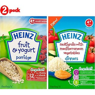 Heinz Cereals Combo (Pack of 2) Fruit & Yogurt Porridge + Multigrain With Mediterranean Vegetables