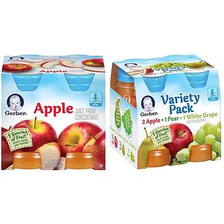 Gerber Juice 4Pk 473ml (16oz) Combo (Pack of 2) - Apple Juice & Variety Pack Juice