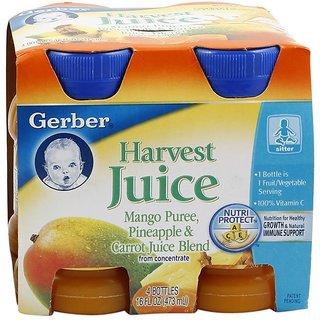 Gerber Juice 4Pk 473ml (16oz) - Mango Pineapple & Carrots Juice