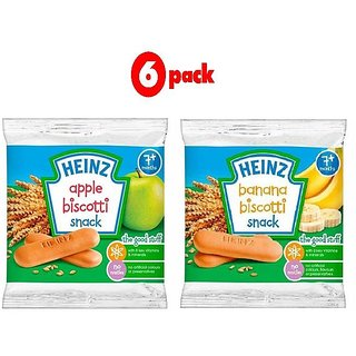 Heinz Biscotti Snack Combo (7m+) (Pack of 6) 60G - 3 Apple + 3 Banana