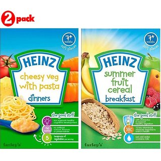 Heinz Cereals Combo (Pack of 2) (7m+) Cheesy Veg Pasta + Summer Fruit Multigrain