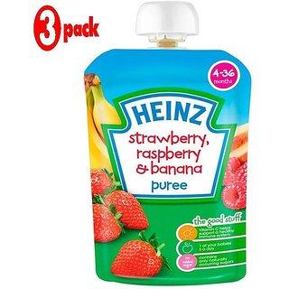 Heinz Strawberry, Rasberry & Banana Puree (4-36m) - 100G (Pack of 3)