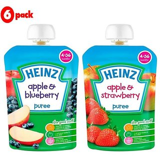 Heinz Puree Combo (Pack of 6) 3 Apple & Blueberry + 3 Apple & Strawberry