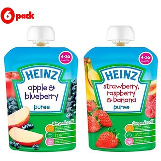 Heinz Puree Combo (Pack of 6) 3 Apple & Blueberry + 3 Strawberry & Rasberry