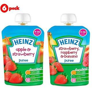 Heinz Puree Combo (Pack of 6) 3 Apple & Strawberry + 3 Strawberry & Rasberry