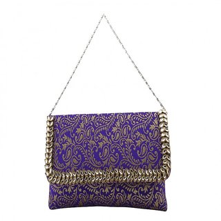 Femethnic unique Brocade Designer Purple clutch