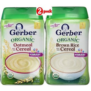 Gerber Cereal Combo 227G (8oz) (Pack of 2) - Organic Oatmeal + Organic Brown Rice