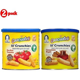 Gerber Graduates Lil' Crunchies Combo 42G (1.48oz) (Pack of 2) - Garden Tomato + Cin Maple