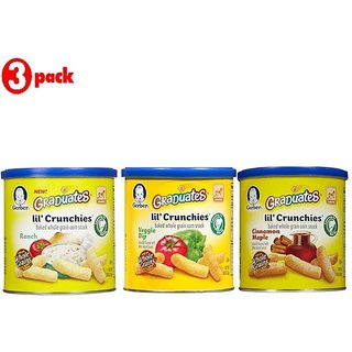 Gerber Graduates Lil' Crunchies Combo 42G (1.48oz) (Pack of 3) - Cin Maple + Ranch + VD