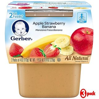 Gerber 2nd Foods 2Pk 226G (8oz) - Apple Strawberry Banana (Pack of 3)