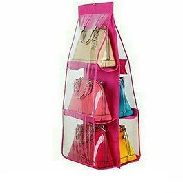 6 Layer Creative Bag wardrobe Hanger Pouch Pocket (Rose Red)