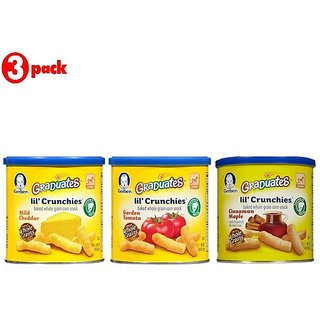 Gerber Graduates Lil' Crunchies Combo 42G (1.48oz) (Pack of 3) - Mild Cheddar + GT + Cin Maple