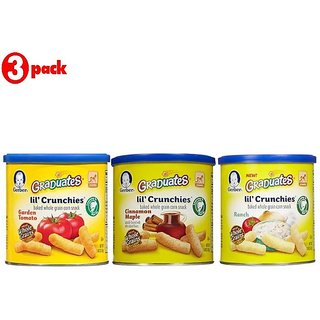 Gerber Graduates Lil' Crunchies Combo 42G (1.48oz) (Pack of 3) - Cin Maple + Garden Tomato + Ranch