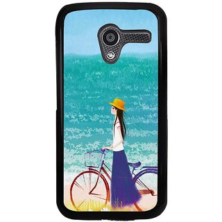 Ayaashii Girl Is Waiting in Beach With Her Cycle Back Case Cover for Motorola Moto X XT1058::Motorola Moto X (1st Gen)