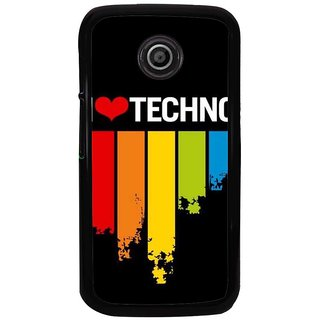 Ayaashii I Love Techno Back Case Cover for Motorola Moto E XT1021::Motorola Moto E (1st Gen)