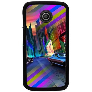 Ayaashii Colorful Street Back Case Cover for Motorola Moto E2::Motorola Moto E (2nd Gen)