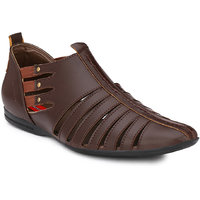 Wave Walk Brown Men's Faux Leather Casual Sandals