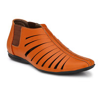 Wave Walk Tan Men's Faux Leather Casual Sandals