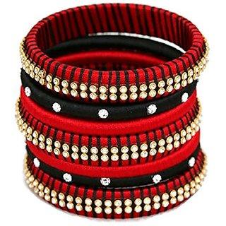 Handi Crafts BlackRed colour silk thread bangles 2.4