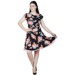 Rs Fashion Brown Floral Crepe Dress
