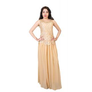350749dd1e Carrel Imported Georgette Fabric Stylish Net Design Women s Sleeveless Maxi  Dress Gawon