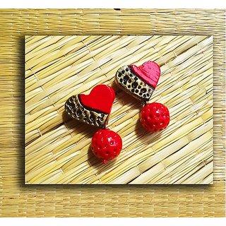 Terracotta-Simple Love shaped earrings