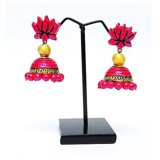 Terracotta-Lotus shaped stud with jhumka