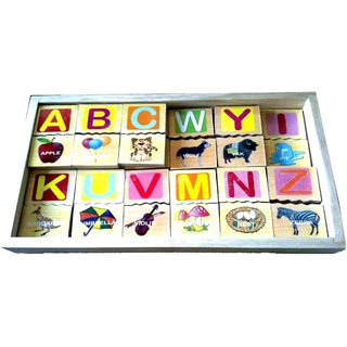 Learners Play Alphabet Picture Block Tiles With Storage Box
