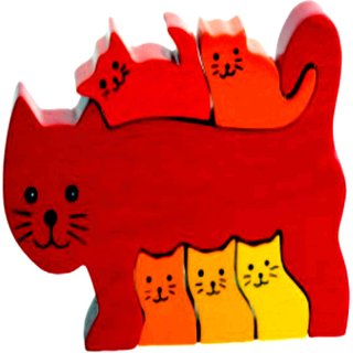 Learners Play Cat Family Jigsaw Puzzle-Colored