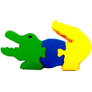 Learners Play Alligator Jigsaw Puzzle-Colored