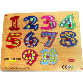 Learners Play Counting Puzzle 1-10 ( Knob ) Size 9x12
