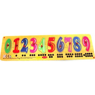Learners Play Count 0-9 Board Knob Puzzle Size 5x18