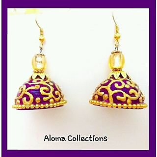 Aloma Collections Beautiful party wear purple and golden ethnic jhumki