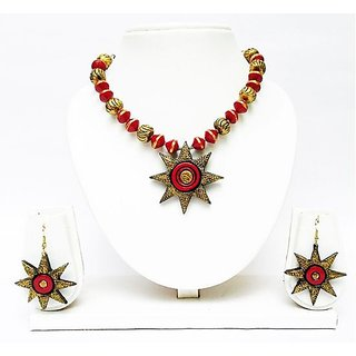 Terracotta -Star Pendant & Necklace with Earrings