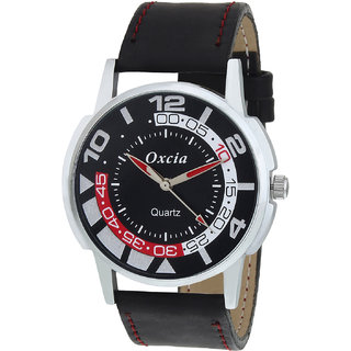 Oxcia Watch Round Dial Black Leather Strap Men Quartz Watch