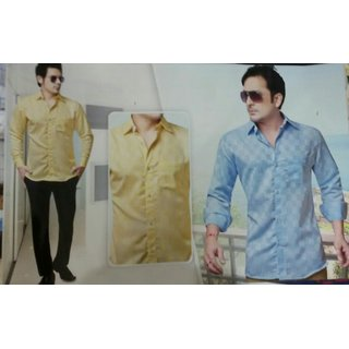 Yellow Blue Button Down Full sleeves Casual Shirt For Men