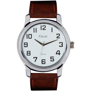 Oxcia Watch Round Dial Brown Leather Strap Men Quartz Watch