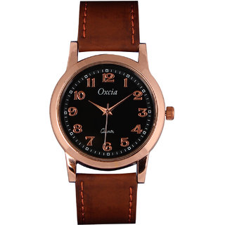 Oxcia Watch Round Dial Brown Leather Strap Men Quartz Watch