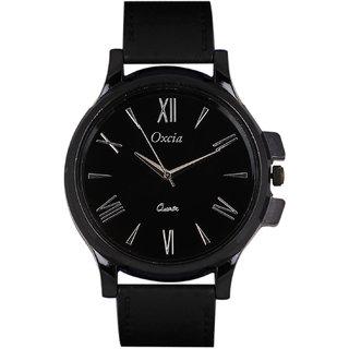 Oxcia Watch Round Dial Black Leather Strap Men Quartz Watch
