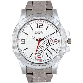 Oxcia Watch Round Dial Silver Metal Strap Men Quartz Watch
