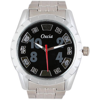 Oxcia Watch Round Dial Silver Metal Strap Men Quartz Watch
