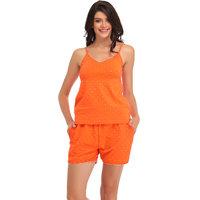 Clovia Orange Plain Nightwear Sets