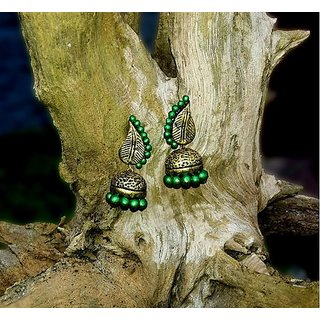 Terracotta-Galea model Green Jhumkas