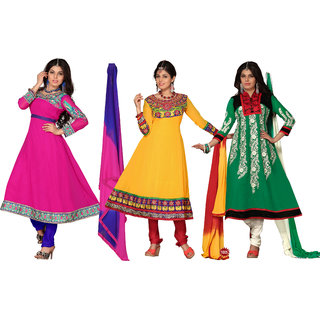 Aaina Multi Color Combo Pack Of 3 Georgette Suit (SBDessyPack of 32)