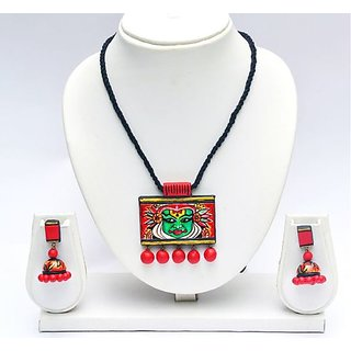Terracotta-Kathakali Pendant and chain with Jhumkas