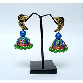 Terracotta-Peacock designed Jhumkas