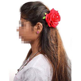 Homeoculture Red Rose Flower Hair Clip Big size  Pack of 2 pieces