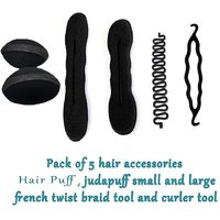 Homeoculture Set Of 5 Different Hair Accessories Hair Volumizer, French Tool, Magic Puff Small And Large And Juda Curler
